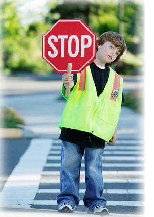 child as crossing guard